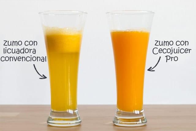 zumo con licuadora y con extractor